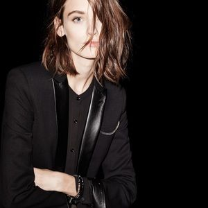 The Kooples Blazer With Leather Detailing